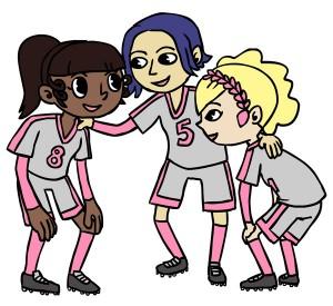 Marisa in a team huddle